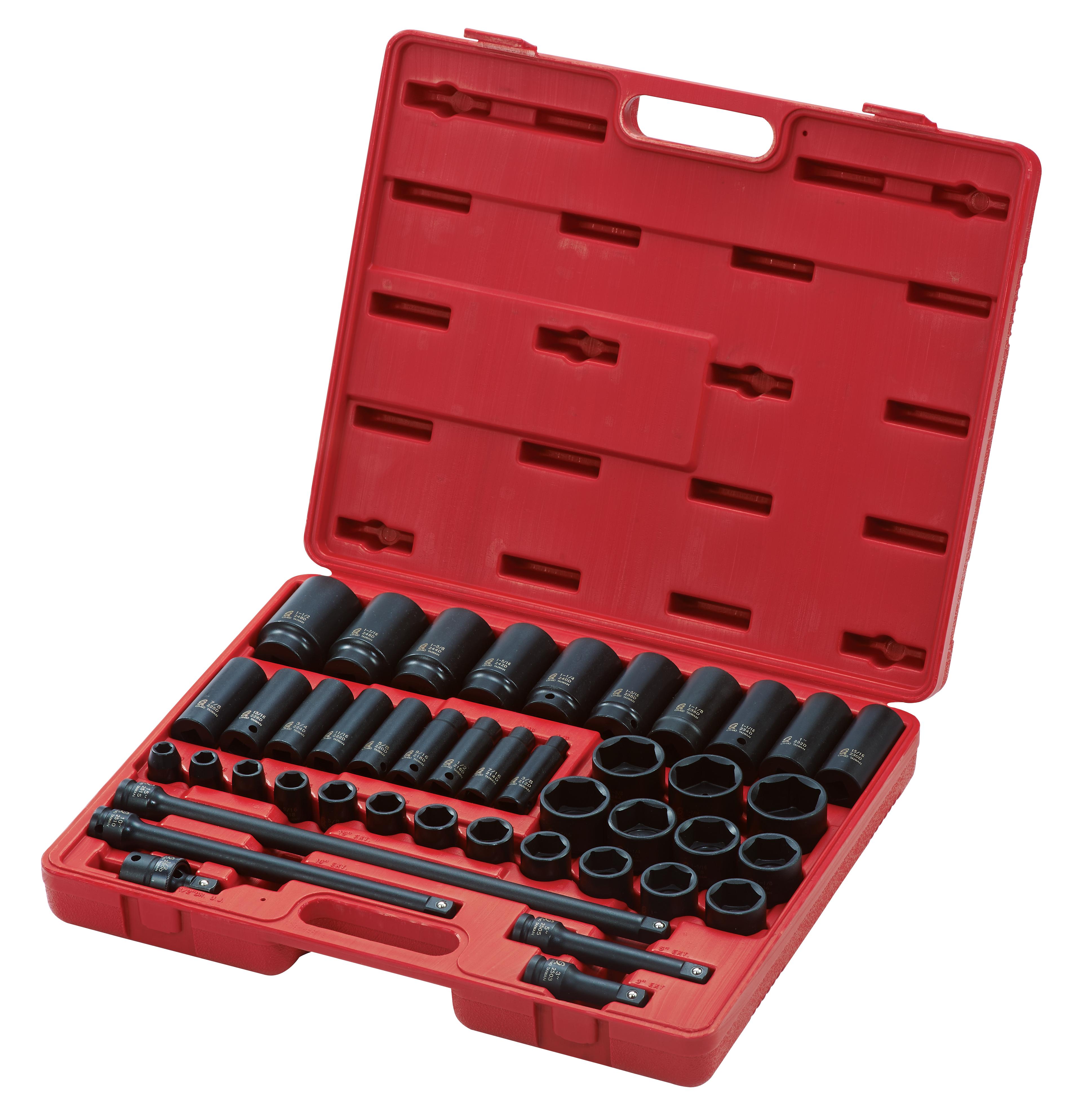 2568 - 43pc 1/2″ Dr. SAE Master Impact Socket Set