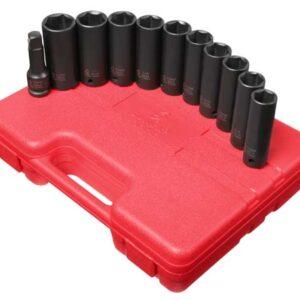 "1/2"" Dr. 11 Pc. SAE & Metric Extra Thin Wall Deep Impact Socket Set"
