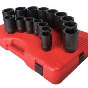 "1/2"" Dr. 16 Pc. SAE Deep Impact Socket Set"