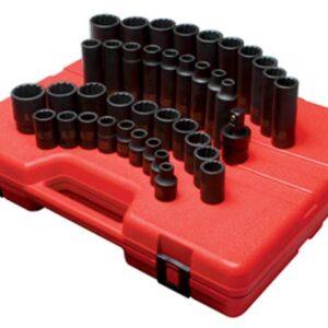 """1/2"""" Dr. 12 Pt. 39 Pc. Metric Master Impact Socket Set"""