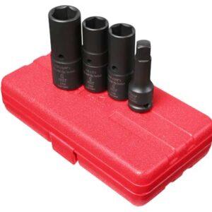 "1/2"" Dr. 4 Pc. SAE & Metric Deep Thin Wall Flip Socket Set"