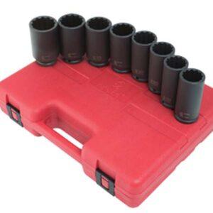 """1/2"""" Dr. 12 Pt. 8 Pc. Deep Spindle Nut Impact Socket Set"""