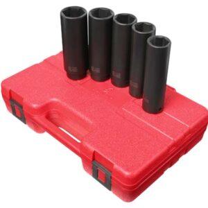"1/2"" Dr. 5 Pc. SAE Extra Long Impact Socket Set"