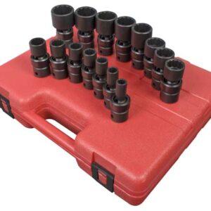 "1/2"" Dr. 12 Pt. 15 Pc. SAE Universal Impact Socket Set"