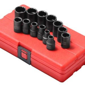 "3/8"" Dr. 12 Pt. 13 Pc. Metric Impact Socket Set"