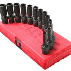 "3/8"" Dr. 12 Pt. 13 Pc. Metric Universal Deep Impact Socket Set"