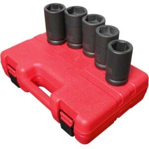 "1"" Dr. 5 Pc. SAE & Metric Combination Budd Wheel Impact Socket Set"