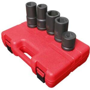 """1"""" Dr. 5 Pc. SAE & Metric Wheel Service Impact Socket Set"""