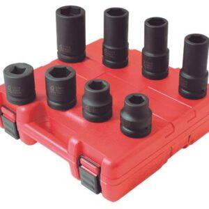 """1"""" Dr. 8 Pc. SAE & Metric Wheel Service Impact Socket Set"""