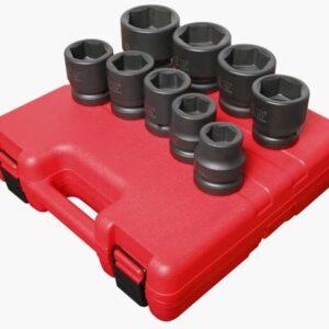 "1"" Dr. 9 Pc. SAE Impact Socket Set"
