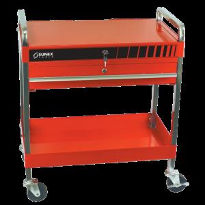 Service Cart w/Locking Top and Locking Drawer-Red