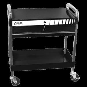 Service Cart w/Locking Top and Locking Drawer-Black