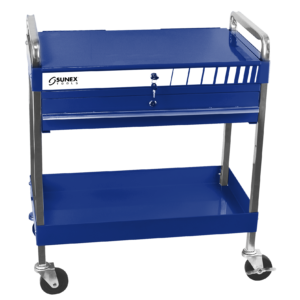 Service Cart w/Locking Top and Locking Drawer-Blue