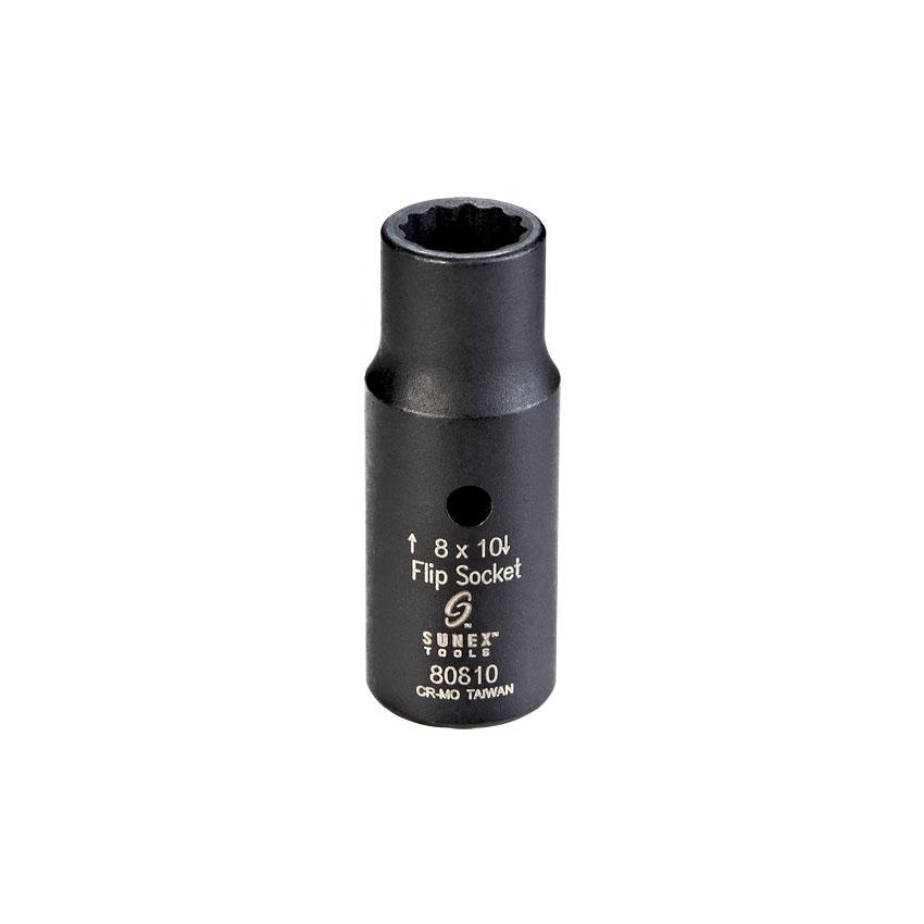 Sunex 80810 1//4-Inch Drive Semi-Deep Impact Flip Socket 8 by 10mm