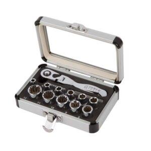 """1/4"""" Dr. 13 Pc. Universal Spline Socket Set w/Mini-flex Head Ratchet"""