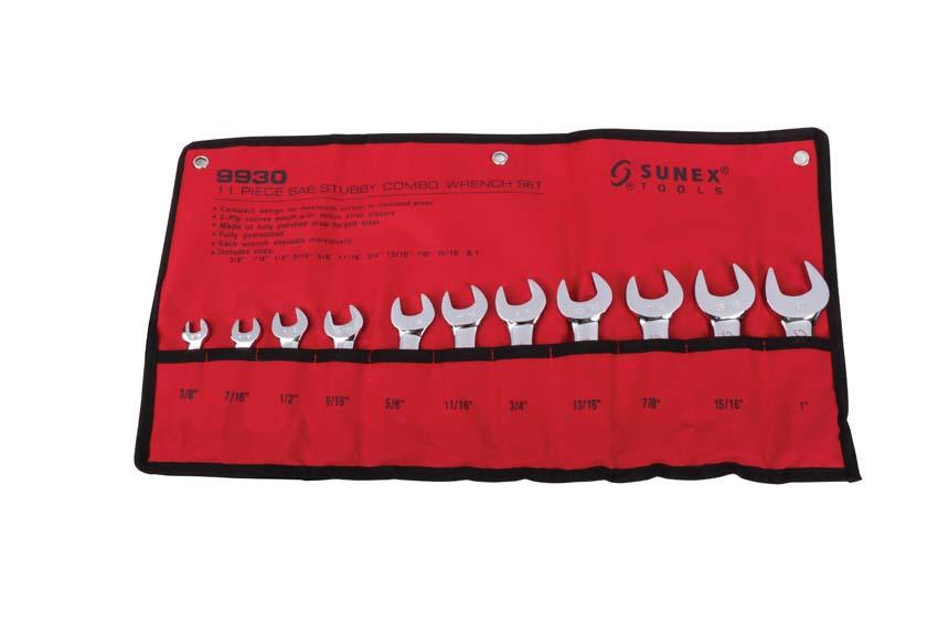 "Sunex Tools 11 Piece SAE Stubby Combination Wrench Set 3//8/"" through 1/"" 9930"