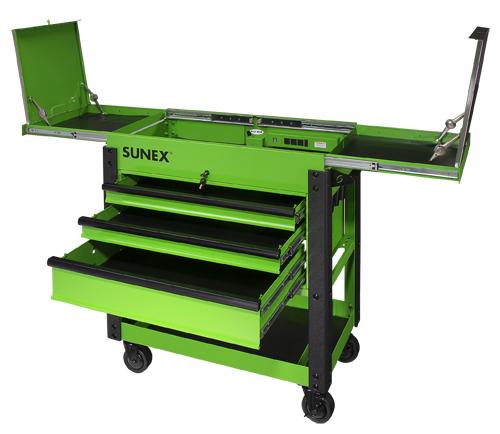 3 drawer slide top utility cart w/power strip- lime green | sunex tools