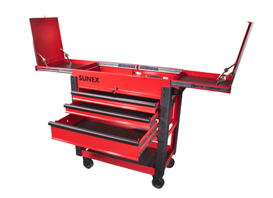 3 drawer slide top utility cart - red | sunex tools